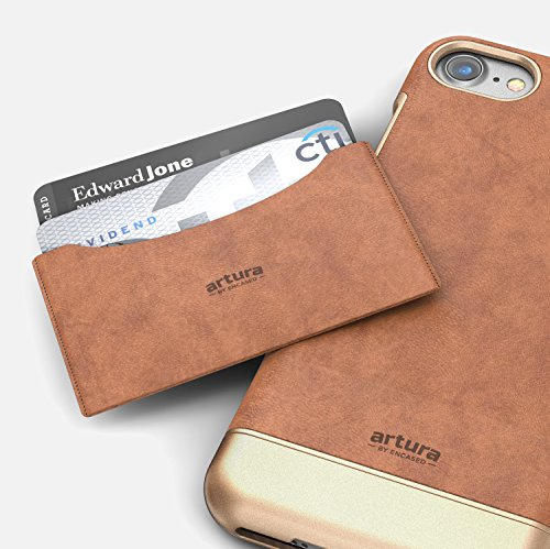 "iPhone 7 Plus (5.5"") Premium Vegan Leather Case - Artura Collection By Encased (Hickory/Gold) Camel"