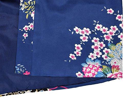 Japanischer geisha Kimono dunkelblau mit Obi-Gürtel - 4