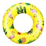 HeySplash Anello di Nuoto, Piscina Salvagente di Cartoni Animati Flamingo Galleggiante Gonfiabile per Adulti Bambini Salvagente Tondo Diametro di 90 cm - Giallo