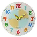 Teach Learn How to Tell Time Teacher bambini leggere orologio analogico da parete, motivo vetro 30cm