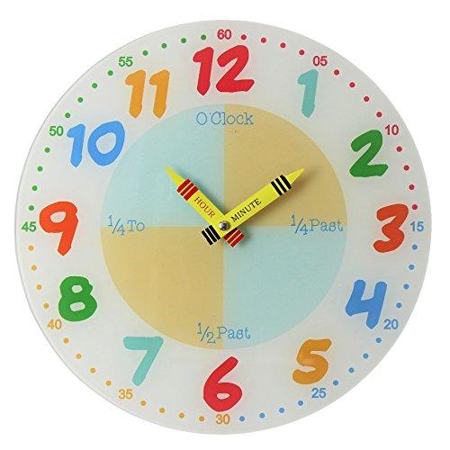 Enseñar a aprender a Tell tiempo maestro niños leer pared analógico reloj 30cm de cristal de colores