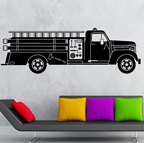 WWYJN Car Truck Wall Decal Vinyl Wall Art Mural Firefighter Truck Wall Sticker Hot Ride Kids Boys Room Decor Firefighter Poster127x42cm -