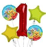Winnie The Pooh Ballon Bouquet 1. Geburtstag 5Pcs–Party Supplies