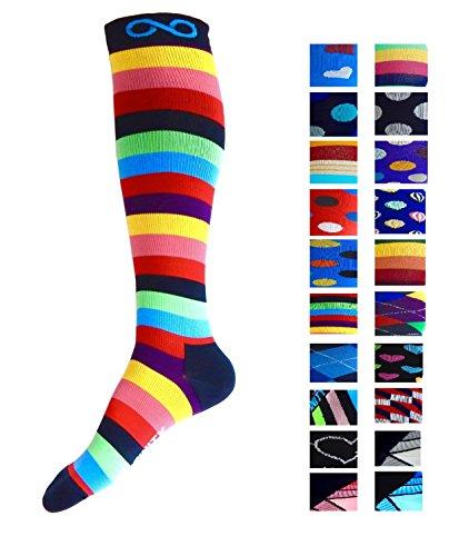 Kompression Socken (1Paar) für Männer & Frauen Von Infinity–Beste für Running, Krankenschwestern, tibiakantensyndrom, Flight Travel, & Mutterschaft Schwangerschaft–Boost Athletic Ausdauer und Wiederherstellung, i-Stripes (Sport Hose Stripe Seite)