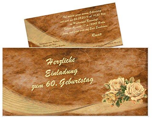 10 Geburtstagseinladungskarten für Erwachsene mit Spruch, Retro Rosen für Männer und Frauen, DIN lang 210 x 99 mm