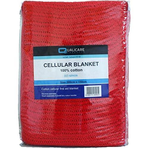 51ptXhalqPL. SS500  - Qualicare Cotton Red Cellular Blanket 200cmx150cm, FIRST AID,PARAMEDIC,AMBULANCE
