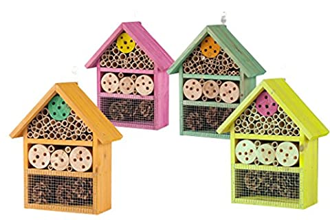 Wooden Wood Bee Insect Bug Nesting Hotel House Box Nest (Pink)