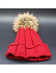 Wenxin0815 Hat Gorro De Punto Otoño Invierno Amplio Borde Tricotado Tapa Exterior Engrosada Cálida Gorra Mujer,Claret