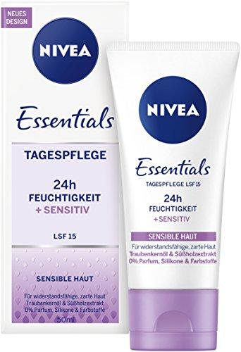 15 Creme (NIVEA Essentials Tagespflege 24h Feuchtigkeit + Sensitiv im 1er Pack (1 x 50 ml), Feuchtigkeitscreme mit LSF 15, schützende Tagescreme für sensible Haut)