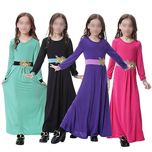 Haodasi Children Girls Muslim Gown Robes Saudi Arabia Apparel Abaya Kaftan Full Length Ethnic Clothing Maxi Dresses Modest Islamic Middle East Dubai Flower Applique Long Dress,TH603