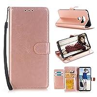 For LG V30 Luxury Leather Case,Y56 Leather Flip Case Cover Wallet For LG V30(Build-in Card Slots&Moner Pocket,Stand Flip Design,Magnetic Button Closure Design) (Rose Gold)