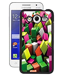 Fuson 2D Printed Cube Pattern Designer Back Case Cover for Samsung Galaxy Core 2 - D604