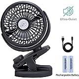 IREENUO Clip Pram Fan USB Battery Portable Fan 5000mAh Personal Fan Small Quiet Fan for Office,Travel(Black)