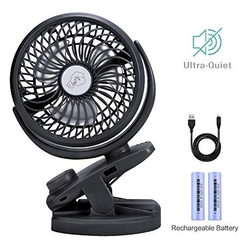 Mini Ventilador Clip Ventilador 4400mAh Batería Ventilador De Escritorio USB Activado Ventilador...