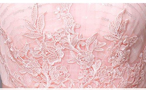 Beauty-Emily Spitze Applikationen V-Ausschnitt A-Linie Ohne Arm Abendkleid Rosa