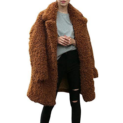 Damen Elegant Faux Wollmantel Wolljacke MYMYG Winter warme Parka lose übergroße Lange Jacke Mantel...