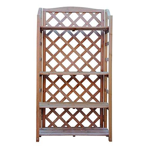 Ev pore067125000 portavasi e fioriera in grigliato rettangolare a 4 piani, legno, marrone, 67 x 30 x 125 cm
