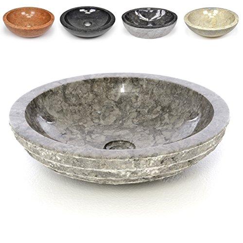 Divero Naturstein Aufsatz-Waschbecken Turin Handwaschbecken Waschschale Marmor Stein innen poliert außen strukturiert rund grau braun