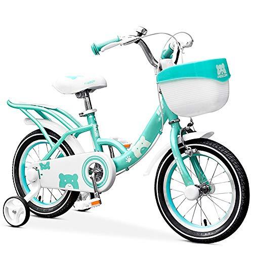 YUMEIGE Kinderfahrräder Kinderfahrräder mit Lenkrad und Rücksitz Kinderfahrrad 12 14 16 Zoll Jungen und Mädchen Radfahren Geeignet für Kinder von 2-8 Jahren (Color : Green, Size : 16in)