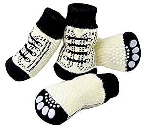 SAMGU Chaussettes antidérapantes pour chien Cat Socks Dog Doggie Anti Slip Puppy Pet