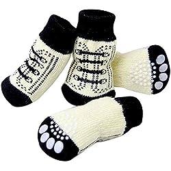 SAMGU Perro Calcetines Antideslizantes para Mascotas Gato Perrito Doméstico Animal Color blanco Size Medium