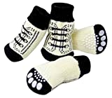 SAMGU Perro Calcetines Antideslizantes para Mascotas Gato Perrito Doméstico Animal Color Blanco Size X-Large