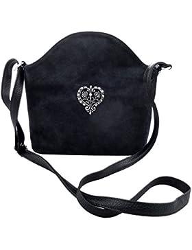 Schwarze Trachtentasche Dirndltasche Umhängetasche Wildleder mit Herz