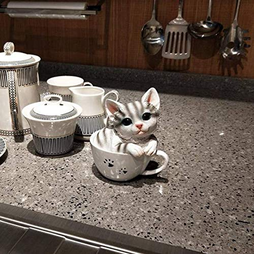 OYBB Ornaments Statues Kitty Ornaments Creative Teacup Cat Cute Simulation Cute Animal Model Coffee Table Restaurant Desktop Resin Decorations