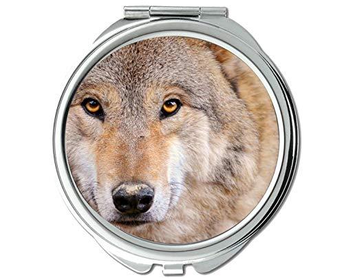 Yanteng Spiegel, Schminkspiegel, Erwachsener Taschenspiegel mit Tierwolf, 1 X 2X Vergrößerung