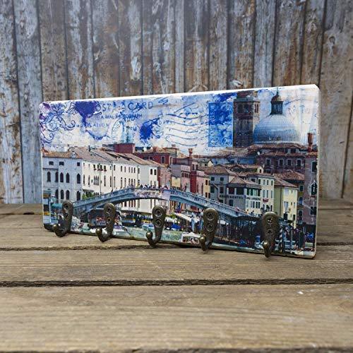 elbPLANKE mit Haken - Venedig Ferrovia | 12x24 cm | Schlüsselbrett von Fotoart-Hamburg | mit 5 Antike Haken aus Holz (Kiefer/Fichte) - 100% Handmade
