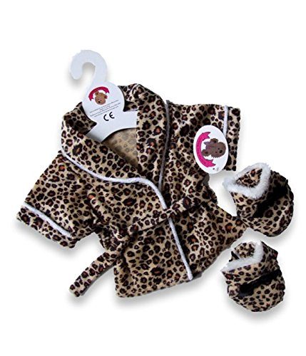 Bär Kleidung Leopard Bademantel & Hausschuhe Fit Build A Bear 38,1 cm Teddies (Teddies Leopard)