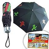 Regenschirm Taschenschirm Ampelmännchen | INKL DDR Geschenkkarte | Ostprodukte | Ideal für jedes DDR Geschenkset | DDR Geschenk