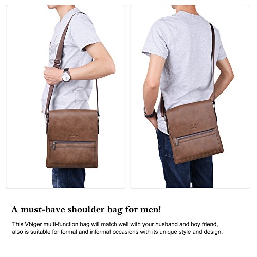 Vbiger Schultertaschen Herren Umhängetasche Aktentaschen Synthetisch Ledertasche für Männern Braun