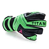 REBEL Torwarthandschuhe von T1TAN mit Innennaht und 4mm Gecko Grip - Tormannhandschuhe in Profi-Qualität für den Torwart von der Kreisklasse bis zur Profiliga - Black & Neon Green
