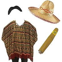 Bandera mexicana para adultos, 4 piezas, Poncho/Cigar/bigote/Sombrero