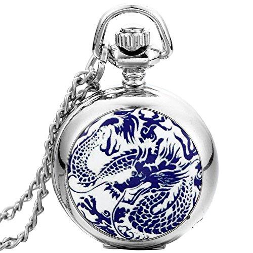 JewelryWe Damen Herren Taschenuhr Emaille Drachen Totem Uhranhänger Quartz Legierung Kettenuhr Uhr Halskette