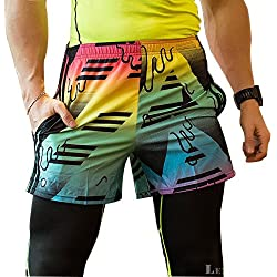 UrChoiceLtd ® QX Men ' s Professional Rápido Dry Shorts De Compresión Elite Gimnasia Térmica Running Sudor Running Shorts Hombres-artículos Deportivos Running Gear Deportes Ropa Salud Fitness CrossFit Ropa (l, camuflaje)