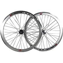 Deep V - 43mm, ruedas fijas para bicicleta Fixie, una sola velocidad, con cubos giratorios, plata