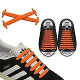 JANIRO Elastische Silikon Schnürsenkel – flexibler Schuhbänder Ersatz ohne Binden - Kinder & Erwachsene - 20 Stück - Orange