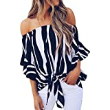 BHYDRY Frauen Striped Off Schulter Taille Tie Bluse Kurzarm Casual T Shirts Tops(Dunkelblau,S)