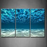 Stampare Opera d'arte Blu Oceano Mare Pittura di arte della parete La stampa su tela di canapa Vista...