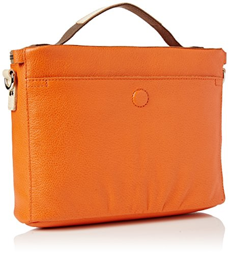 Orla Kiely Embossed Flower Leather Mini Box Bag, Sacs bandoulière Orange (Orange)