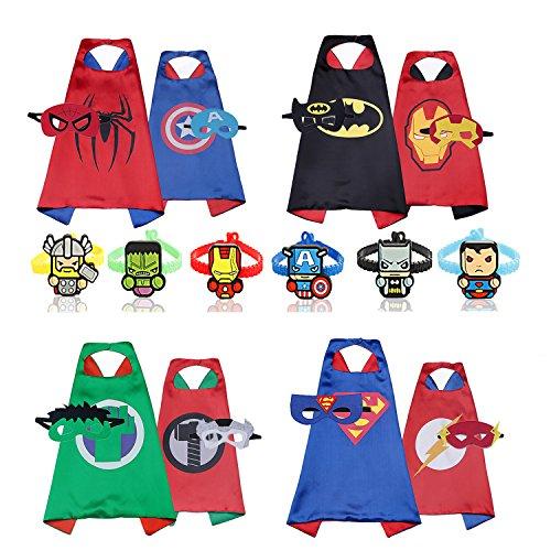 Superhelden Superhelden Comic Kostüme (RioRand Comics Cartoon Heroes verkleiden sich Kostüme mit Masken (4er Doppelseitenkappen mit 8er Masken und 6er)