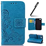 iPhone 4S Case,iPhone 4 Cover, iPhone 4S Wallet Case,Leather Flip Case for iPhone 4/4S, Ukayfe [Embossing Clover Flower Leaf] Pattern Premium PU Leather Magnetic Flip Case Cover Pouch Protective Case with Card Slot and Strap for iPhone 4/4S + 1x Black Stylus, Blue