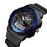 Bobolover Reloj Deportivo LED Digital Gran Pantalla Relojes para Niños Niñas Estudiantes Jovenes y Simple Reloj Impermeable Casual Luminoso Cronómetro (Azul)