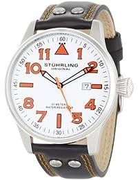 Stuhrling Original Sportsman's 'Eagle' Swiss 141.33152 - Reloj de caballero de cuarzo, correa de piel color negro