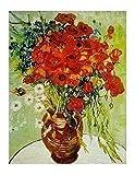 1art1 36216 Vincent Van Gogh - Vase Mit Margeriten Und Mohnblumen Poster Kunstdruck 50 x 40 cm