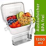 Cucino | Dichte Edelstahl Brotdose mit Trennwand (flexibel), BPA- & Plastikfreie Bento Box ideal für Kinder & Erwachsene, LFGB Zertifiziert, Ersatzteile für Brotbox verfügbar | 1200ml