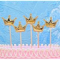 MIMOO Diseño Divertido Dulce Inserción Tarjeta Pastel de Cumpleaños Bandera de Postre Decoración de Mesa Navidad Insertar Pastel Bandera Conjunto de Tarjetas ( Color : Crown Gold )