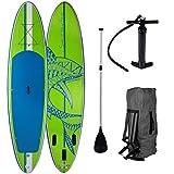 SUP Board Stand up Paddling Surfboard Shark Grün 320x76x15cm aufblasbar Alu-Paddel Hochdruck-Pumpe Transportrucksack 115KG Tragkraft